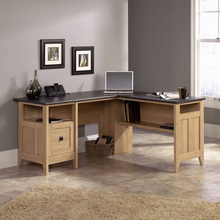 scribed oak effect home. The Dover Oak L-Shaped Home Office Desk Provides A Lot Of Working Space With It Corner Design, Offers Finish Along Slate Coloured Scribed Effect I