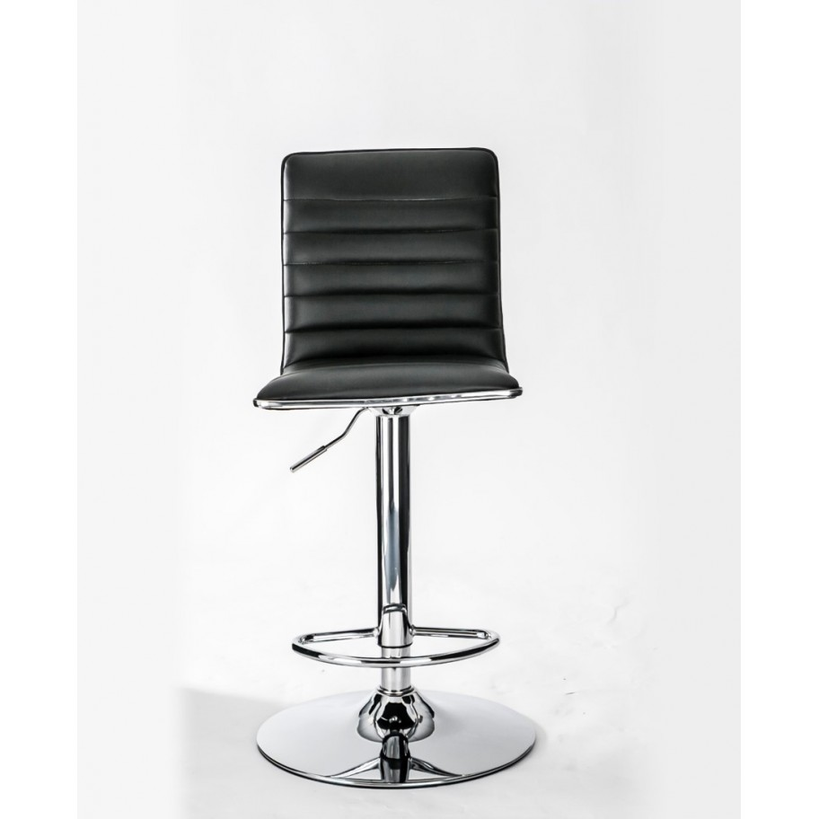 Colby Black Faux Leather And Chrome High Back Barstool
