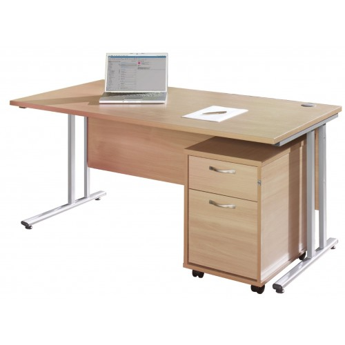 Maestro Straight Desk with Under Desk Pedestal