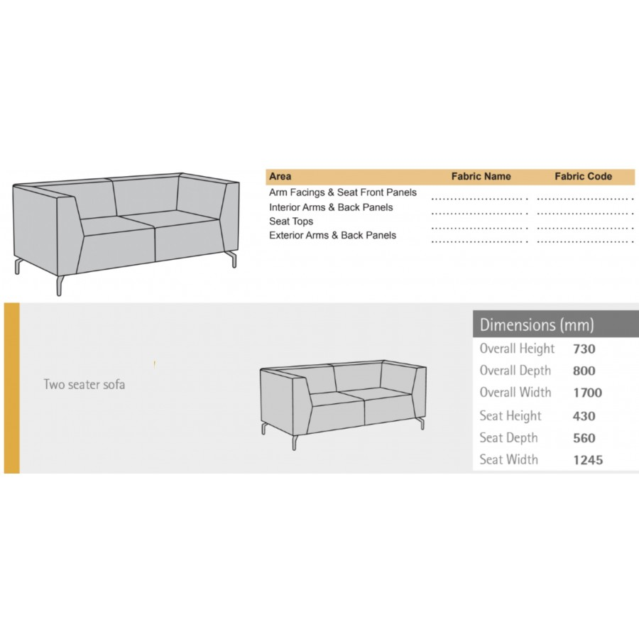 Alban Low Back Two Seater Sofa