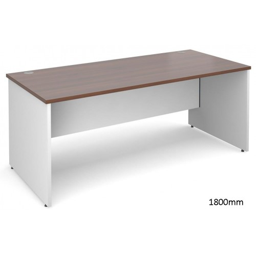 Duo White and Walnut Straight Desk