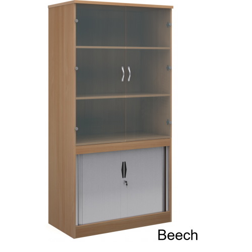Systems Combination Bookcase With Horizontal Tambour & Glass Doors