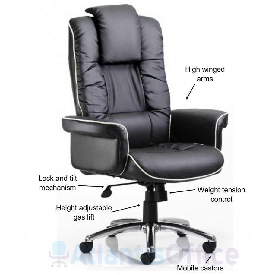 Next Day Chester Leather Large Wing Officechair