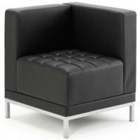 Infinity Black Bonded Leather Corner Cube