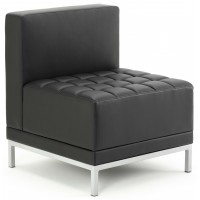 Infinity Black Bonded Leather Straight Backed Cube