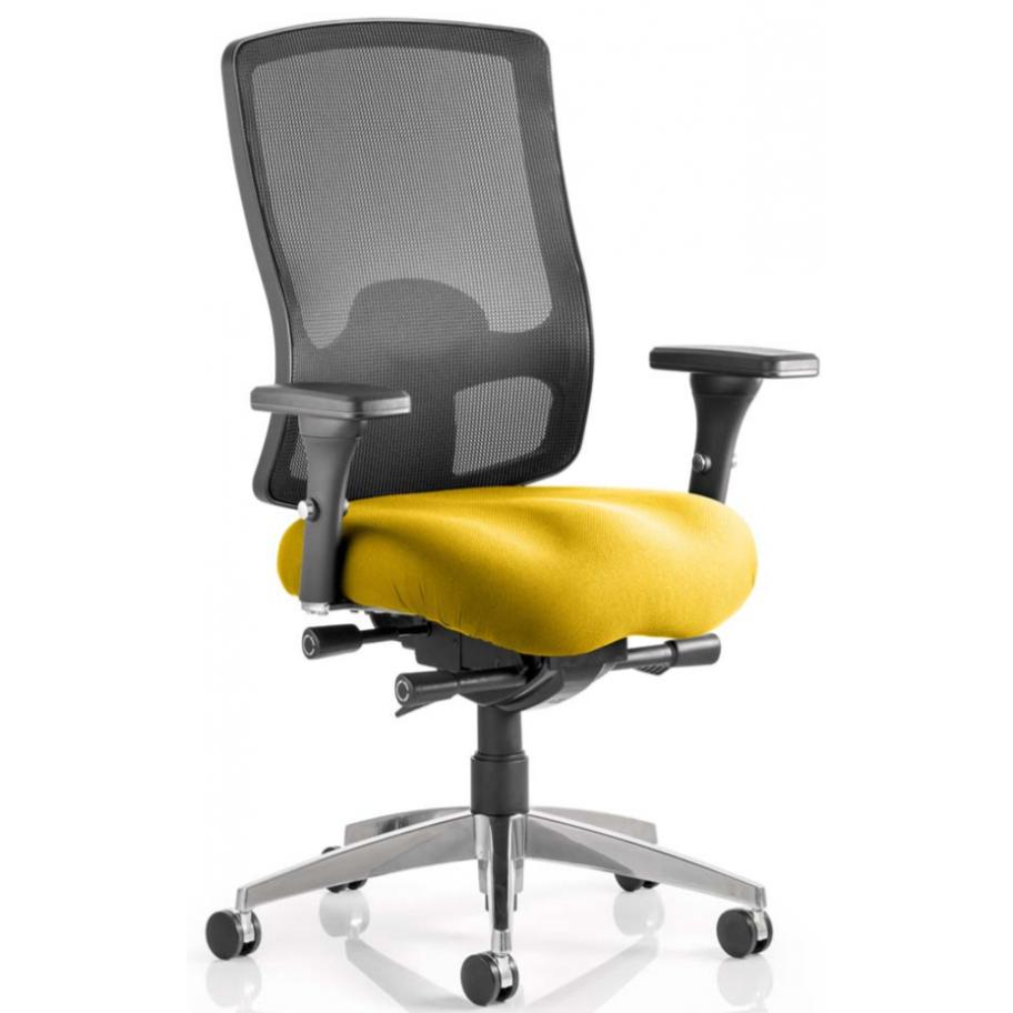 Regent upholstered ergonomic mesh posture yellow office chair