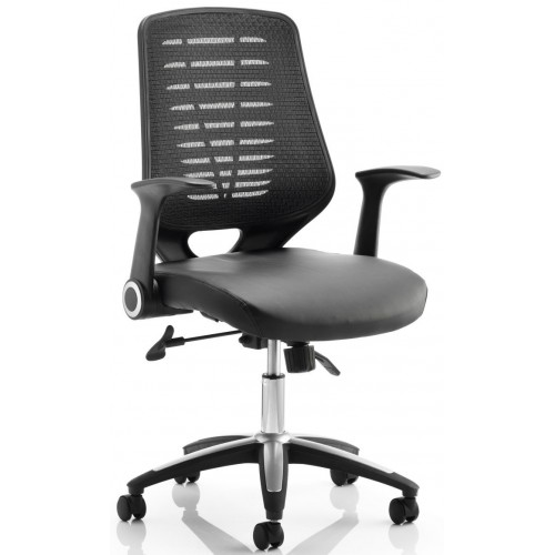 Reading Leather Seat Office Chair with Folding Arms