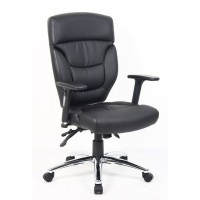 Alford Leather Operator Ergonomic Black Office Chair