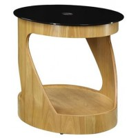 Curve Walnut Veneer Side Table