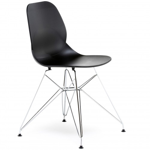 Pop Chrome Frame Plastic Bistro Chair
