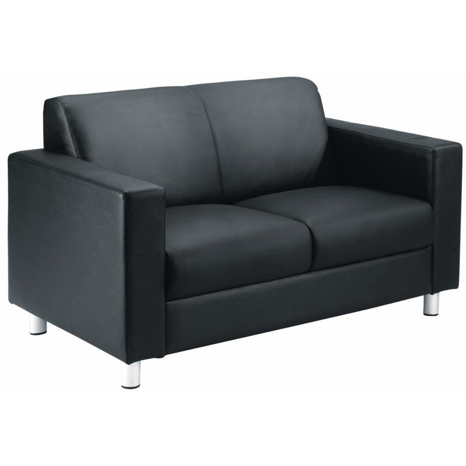Iceberg Black Leather Reception Sofa