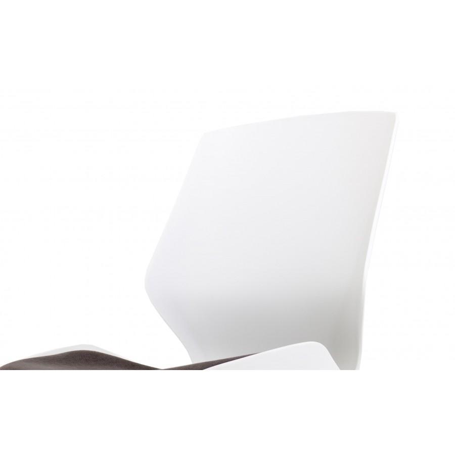 Florence White Frame High Stool Grey Fabric