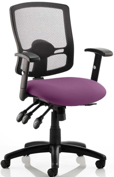 Portland Iii Upholstered Mesh Purple Operator Chair