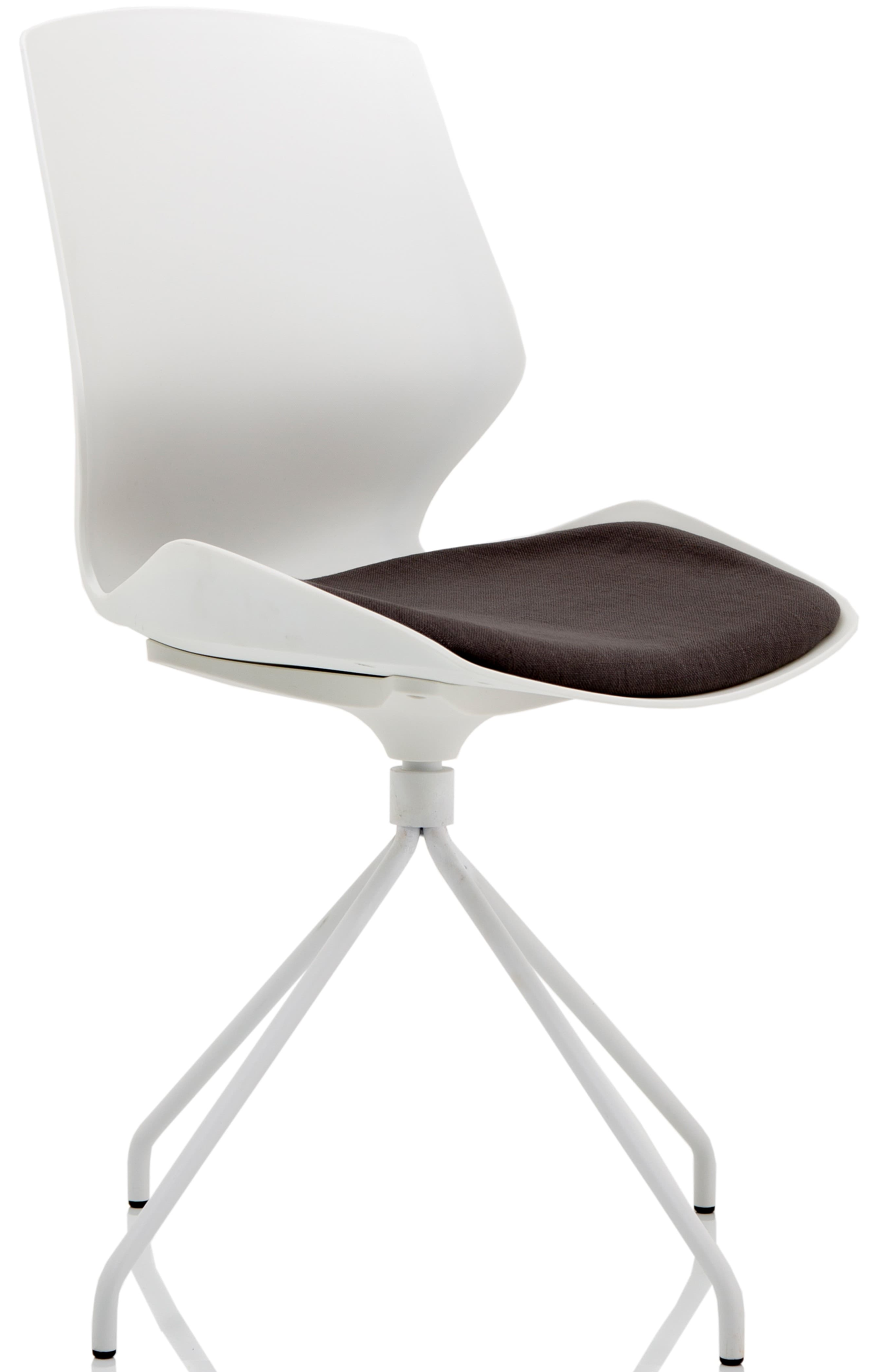 Florence Spindle White Frame Dark Grey Fabric Visitor Chair